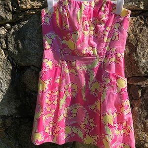 Lilly Pulitzer pink yellow floral strapless dress